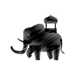 hand drawing indian elephant vector illustration eps 10