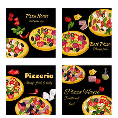 Pizza design template. Square banners set. Pizzeria restaurant menu. Vector drawn banners.