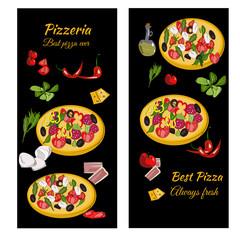 Pizzeria design template. Vertical vector banners set. Pizza restaurant menu.