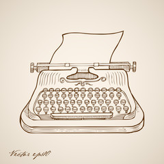 Engraving hand vector typewriter and sheet of paper in it