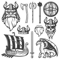 Vintage Viking Icon Set