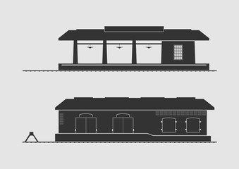 Railway station and goods shed
