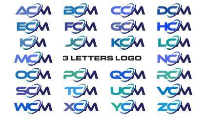3 letters modern generic swoosh logo ACM, BCM, CCM, DCM, ECM, FCM, GCM, HCM, ICM, JCM, KCM, LCM, MCM, NCM, OCM, PCM, QCM, RCM, SCM, TCM, UCM, VCM, WCM, XCM, YCM, ZCM