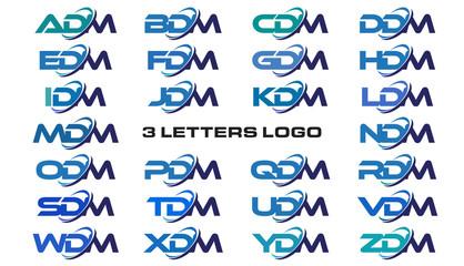 3 letters modern generic swoosh logo ADM, BDM, CDM, DDM, EDM, FDM, GDM, HDM, IDM, JDM, KDM, LDM, MDM, NDM, ODM, PDM, QDM, RDM, SDM, TDM, UDM, VDM, WDM, XDM, YDM, ZDM