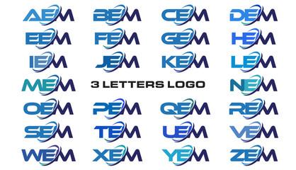 3 letters modern generic swoosh logo AEM, BEM, CEM, DEM, EEM, FEM, GEM, HEM, IEM, JEM, KEM, LEM, MEM, NEM, OEM, PEM, QEM, REM, SEM, TEM, UEM, VEM, WEM, XEM, YEM, ZEM