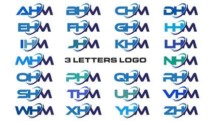 3 letters modern generic swoosh logo AHM, BHM, CHM, DHM, EHM, FHM, GHM, HHM, IHM, JHM, KHM, LHM, MHM, NHM, OHM, PHM, QHM, RHM, SHM, THM, UHM, VHM, WHM, XHM, YHM, ZHM