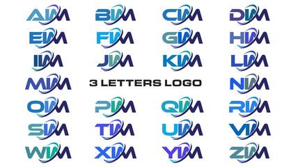 3 letters modern generic swoosh logo AIM, BIM, CIM, DIM, EIM, FIM, GIM, HIM, IIM, JIM, KIM, LIM, MIM, NIM, OIM, PIM, QIM, RIM, SIM, TIM, UIM, VIM, WIM, XIM, YIM, ZIM
