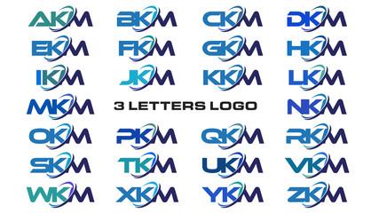3 letters modern generic swoosh logo AKM, BKM, CKM, DKM, EKM, FKM, GKM, HKM, IKM, JKM, KKM, LKM, MKM, NKM, OKM, PKM, QKM, RKM, SKM, TKM, UKM, VKM, WKM, XKM, YKM, ZKM