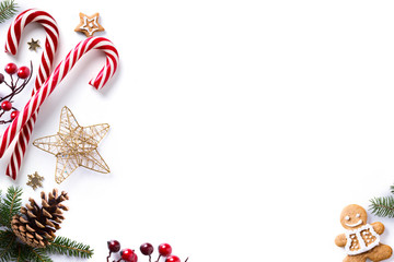 Christmas decorations and holidays sweet on white background