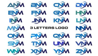 3 letters modern generic swoosh logo ANM, BNM, CNM, DNM, ENM, FNM, GNM, HNM, INM, JNM, KNM, LNM, MNM, NNM, ONM, PNM, QNM, RNM, SNM, TNM, UNM, VNM, WNM, XNM, YNM, ZNM