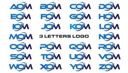 3 letters modern generic swoosh logo AOM, BOM, COM, DOM, EOM, FOM, GOM, HOM, IOM, JOM, KOM, LOM, MOM, NOM, OOM, POM, QOM, ROM, SOM, TOM, UOM, VOM, WOM, XOM, YOM, ZOM