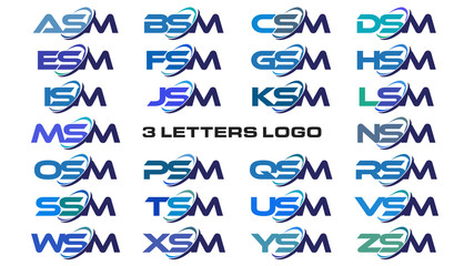 3 letters modern generic swoosh logo ASM, BSM, CSM, DSM, ESM, FSM, GSM, HSM, ISM, JSM, KSM, LSM, MSM, NSM, OSM, PSM, QSM, RSM, SSM, TSM, USM, VSM, WSM, XSM, YSM, ZSM