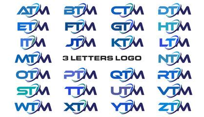 3 letters modern generic swoosh logo ATM, BTM, CTM, DTM, ETM, FTM, GTM, HTM, ITM, JTM, KTM, LTM, MTM, NTM, OTM, PTM, QTM, RTM, STM, TTM, UTM, VTM, WTM, XTM, YTM, ZTM