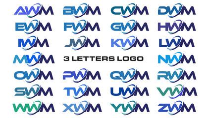 3 letters modern generic swoosh logo AWM, BWM, CWM, DWM, EWM, FWM, GWM, HWM, IWM, JWM, KWM, LWM, MWM, NWM, OWM, PWM, QWM, RWM, SWM, TWM, UWM, VWM, WWM, XWM, YWM, ZWM