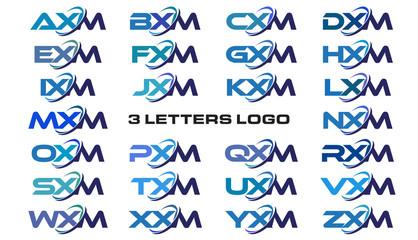 3 letters modern generic swoosh logo AXM, BXM, CXM, DXM, EXM, FXM, GXM, HXM, IXM, JXM, KXM, LXM, MXM, NXM, OXM, PXM, QXM, RXM, SXM, TXM, UXM, VXM, WXM, XXM, YXM, ZXM