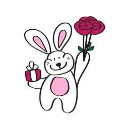 Card with a cute Bunny, bouquet of roses