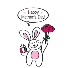 Happy mother's day! Card with a cute Bunny and a bouquet of rose