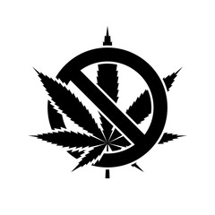 No cannabis leaf icon. Black icon isolated on white background. Round icon. No marijuana silhouette. Simple circle icon. Web site page and mobile app design vector element.