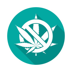No cannabis leaf icon with long shadow. Flat design style. Round icon. No marijuana silhouette. Simple circle icon. Modern flat icon in stylish colors. Web site page and mobile app design element.