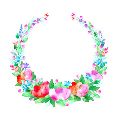 Floral wreath.Garland with poppy flower,berry and herb .Watercolor hand drawn illustration.White background.It can be used for greeting cards, posters, wedding cards.
