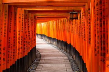 Thousands of torii gates at Fushimi Inari Shrine in Kyoto, Japan