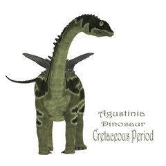 Agustinia Dinosaur with Font - Agustinia was a herbivorous sauropod dinosaur that lived in South America in the Cretaceous Period.