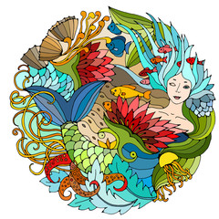 Decorative round element with mermaid, algae, fish. Bright colorful vector illustration. Surreal template.