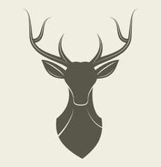 Deer head - reindeer animal design logo isolated vector stock
