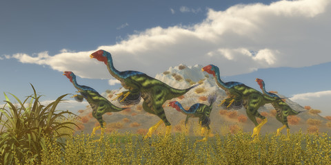 Caudipteryx Dinosaur Flock -Caudipteryx was a dinosaur reptile bird that lived in China in the Cretaceous Period.