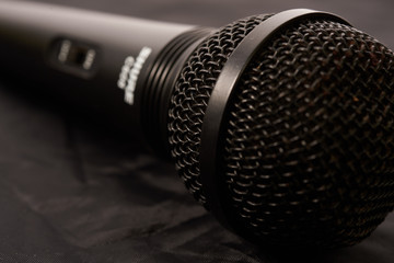 Black microphone closeup