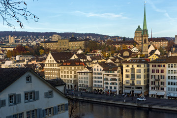 ZURICH, SWITZERLAND - 28 OCTOBER 2015 : Panorama of city of Zurich and Limmat River, Switzerland