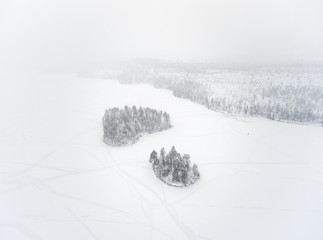 Frozen lake and islands, Finland