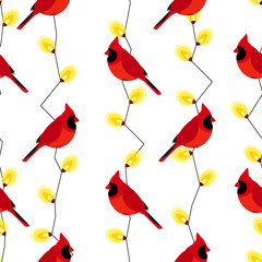 Seamless pattern with red cardinal and garland with lights. Vector background.