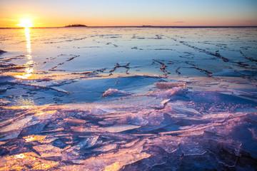 Frozen lake at sunset, Finland