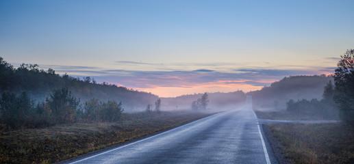 Road in fog, Finland
