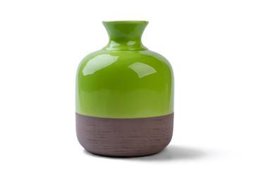 Two-tone vase isolated. Ceramic vase on white background. Decorate house with shiny vase. Best pottery for home.
