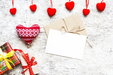 blank white valentines greeting card with gift boxes