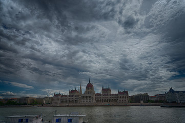 Dramatic view of the Parliament in Budapest