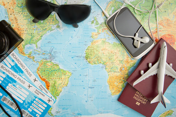 Obraz Business travel traveling map world concept. - fototapety do salonu