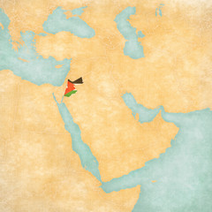 Map of Middle East - Jordan