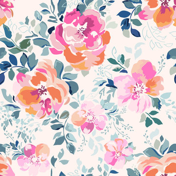 delicate pink watercolor like rose print - seamless background