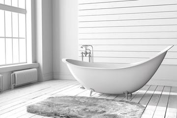 Blank bright bathroom