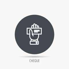 Cheque icon. Giving hand sign. Paying check in palm symbol. Round web button with flat icon. Vector