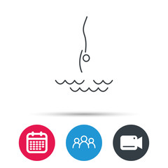 Diving icon. Jumping into water sign. Professional swimming sport symbol. Group of people, video cam and calendar icons. Vector