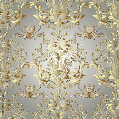 Baroque Seamless Pattern Damask Wallpaper Ornate Floral