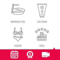 Achievement and video cam signs. Hotel, swimming pool and sun cream icons. Lingerie linear sign. Calendar icon. Vector