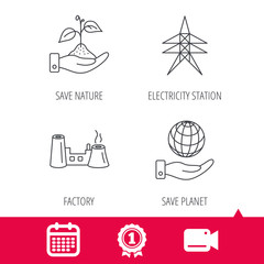 Achievement and video cam signs. Save nature, planet and factory icons. Electricity station linear sign. Calendar icon. Vector