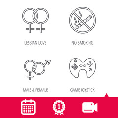 Achievement and video cam signs. No smoking, couple and game joystick icons. Male, female and lesbian love linear signs. Calendar icon. Vector