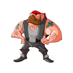 Colorufl vector illustration of a cartoon rocker, biker or gang member