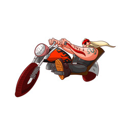 Colorufl vector illustration of a cartoon rocker, biker or gang member